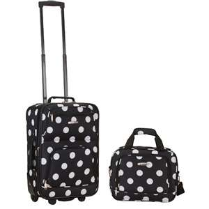 Rockland 2 Piece Fashion Luggage Set, Black Dot Luggage