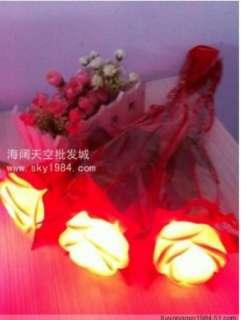 Plastic LED rose Night Light lover flower Valentines Day decoration