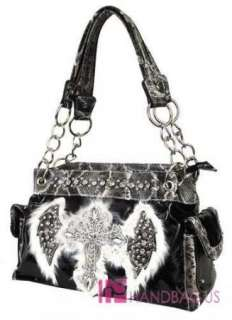 ANGEL WING Rhinestone CROSS Snakeskin Chained Tote Bag Purse SET Black