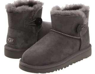 New Kids Ugg Australia Mini Bailey Button Suede Grey Boots 1000788 Sz