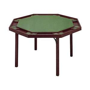 Octagon Poker Table with Mahogany Finish & Green Vinyl Top