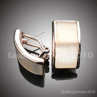 18K Rose Gold GP Cat Eye Bar Clip Stud Earrings VER016