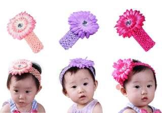 Bundle Monster New 24pc Daisy Flower Clip Crochet Baby Headbands Hair